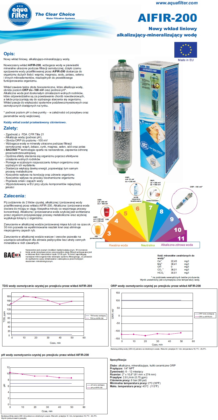 Jonizator wody, wkład jonizujący, alkalizujący odwrócona osmoza, AIFIR-200