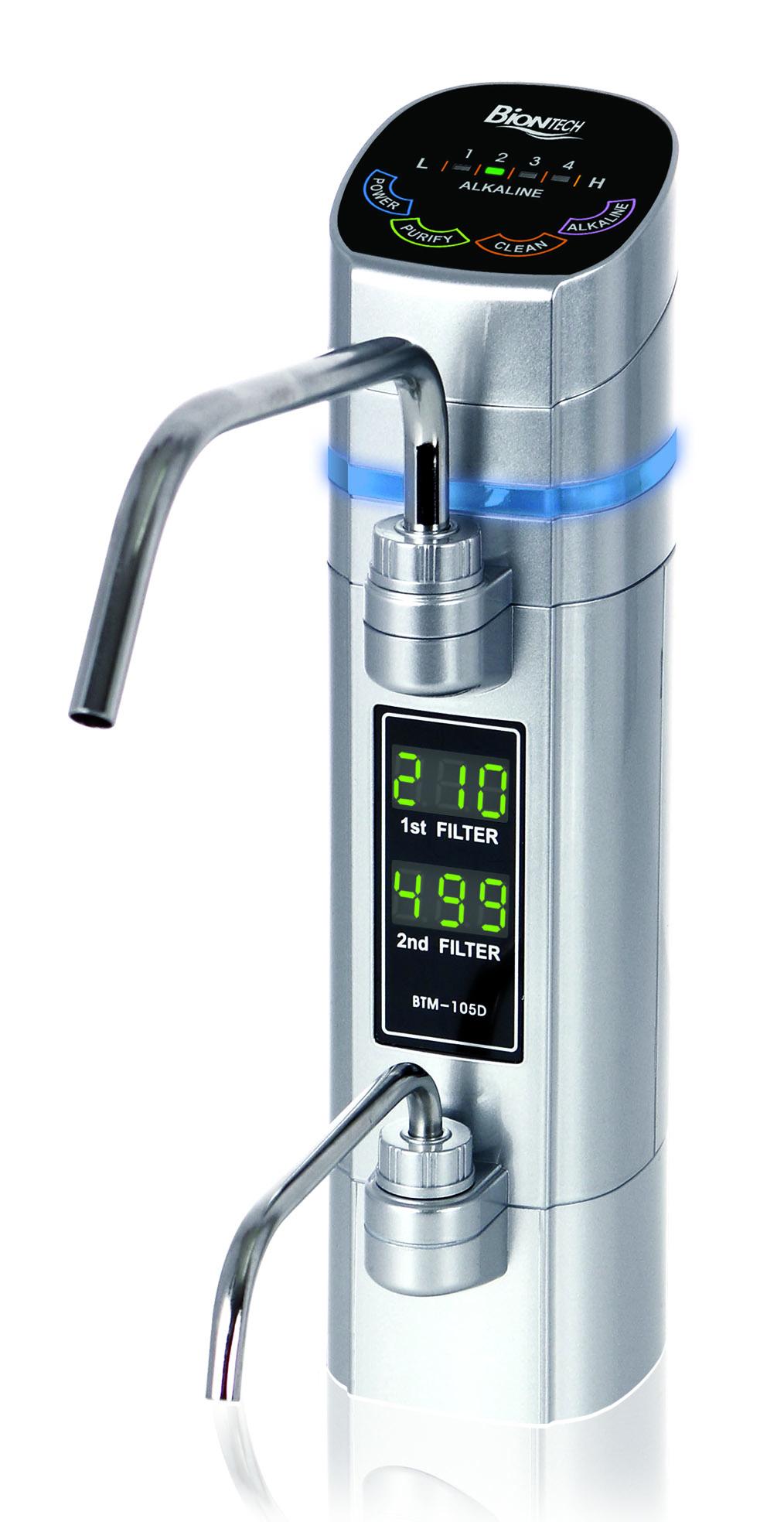 Bateria jonizatora Biontech 105D - górna wylewka dostarcza wodę alkaliczną, a dolna kwasową (w tym samym czasie)