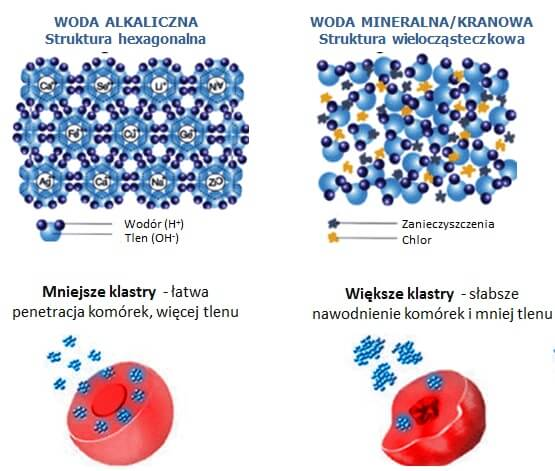 Struktura mikroklastrowa, woda alkaliczna, jonizowana, jonizatory wody