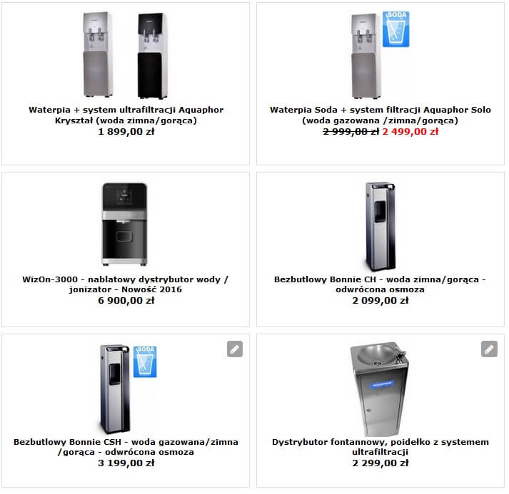Dystrybutory filtrujęce wody sklep